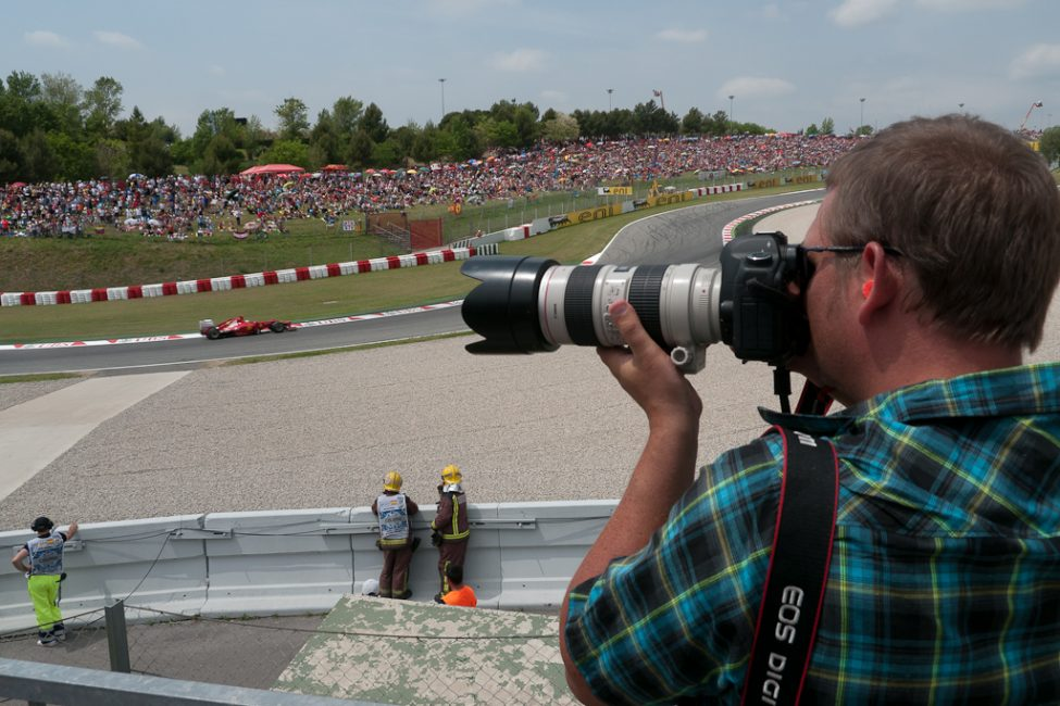 photographer at f1 race in barcelona