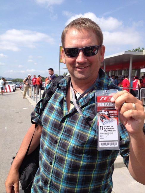 Adventure Traveler Dave with his VIP Pass to Catalunya Circuit