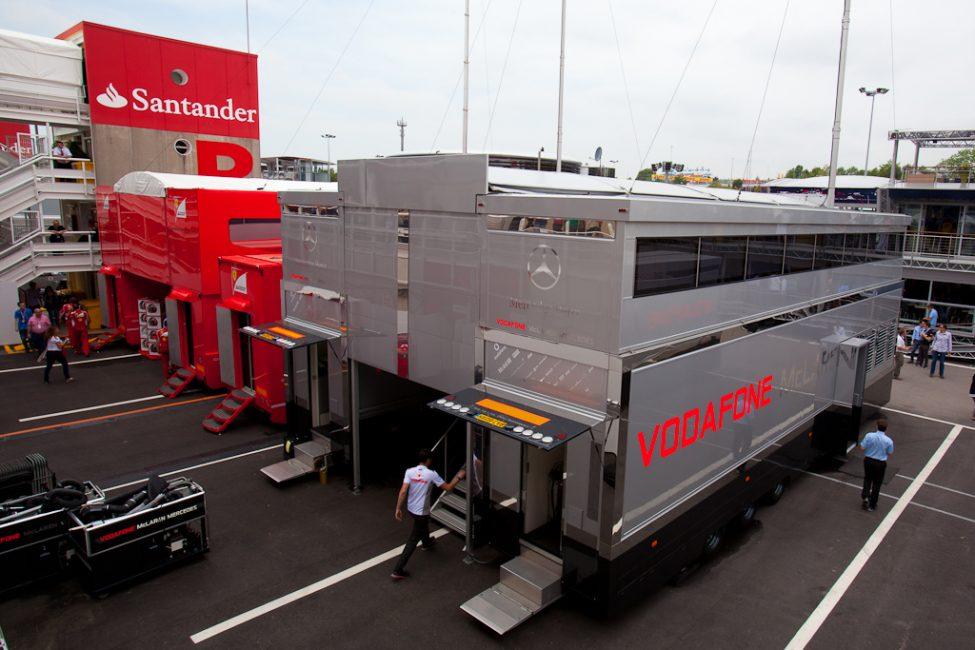 motorhomes of race teams at F1
