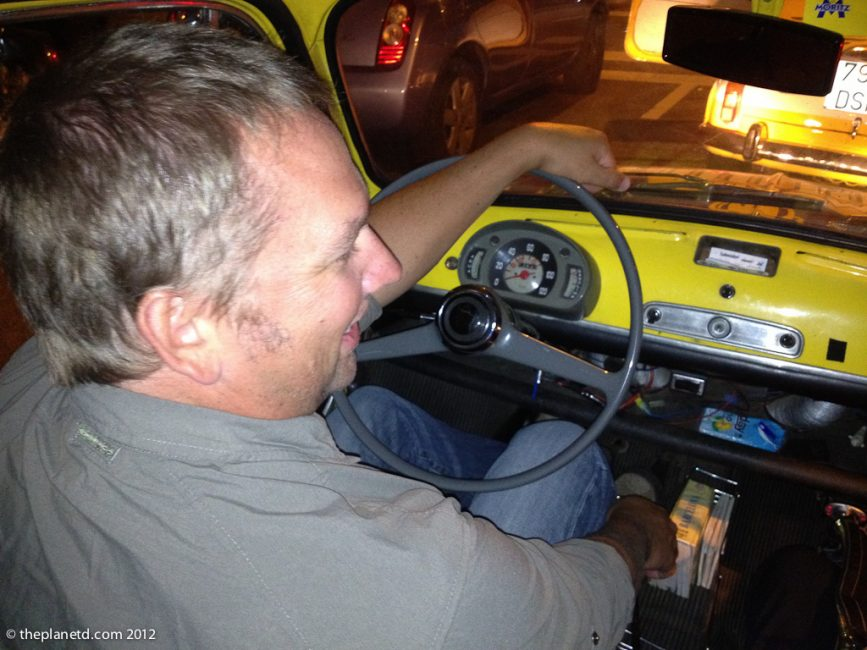 dave driving during our couples adventure in Barcelona
