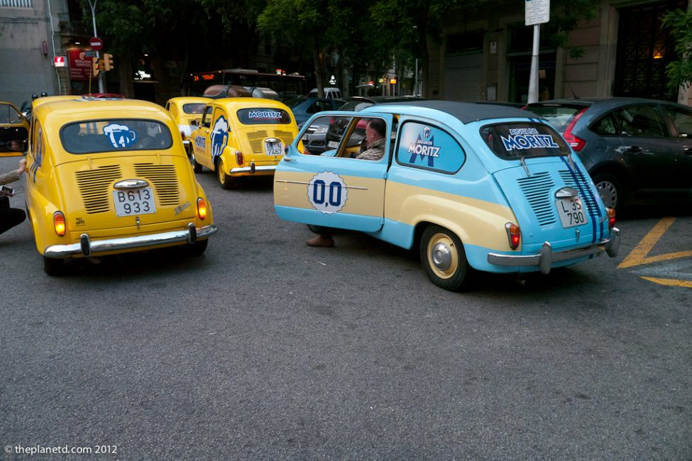 convoy of Seat 600 cars in Barcelona