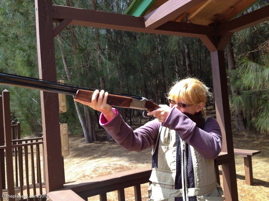 travel blogger deb takes aim at clay target