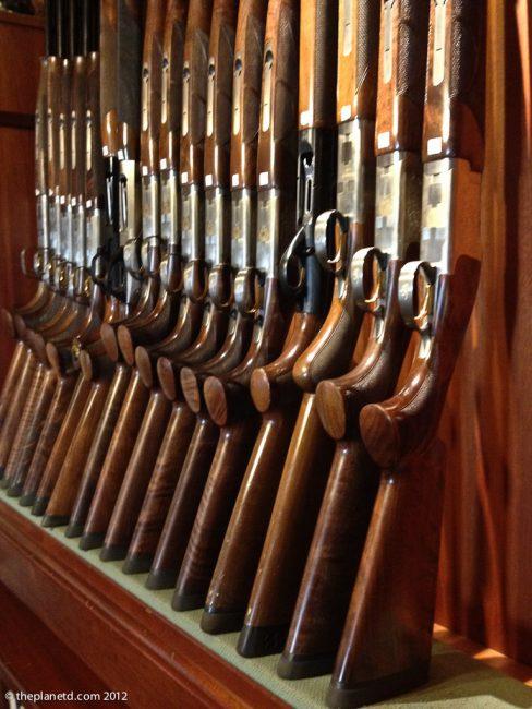 guns on display at Clay shooting range