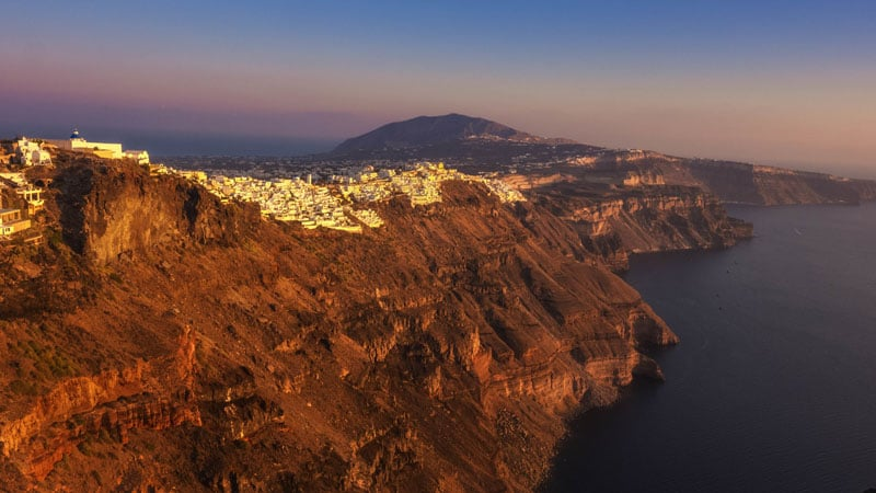 fira cliffs sunset in santorini