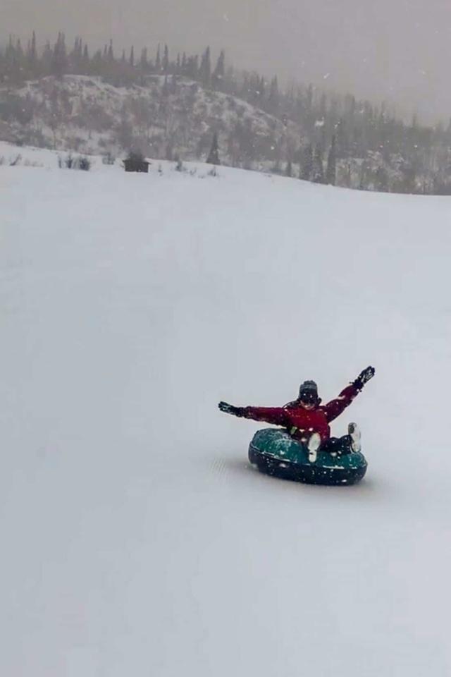 winter in colorado snowtubing
