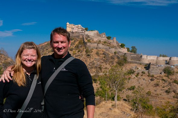couple poseing at Dhubleguard Fort in India