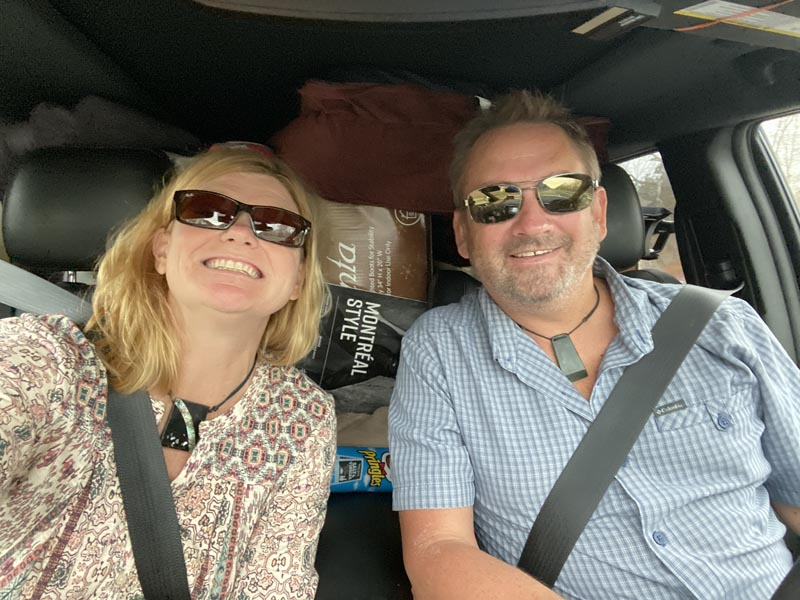 dave and deb in the car