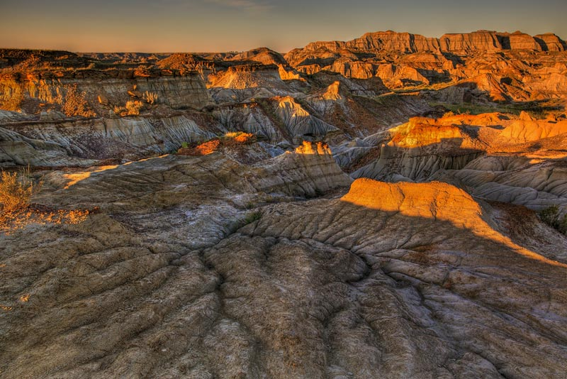 badlands alberta at sunset
