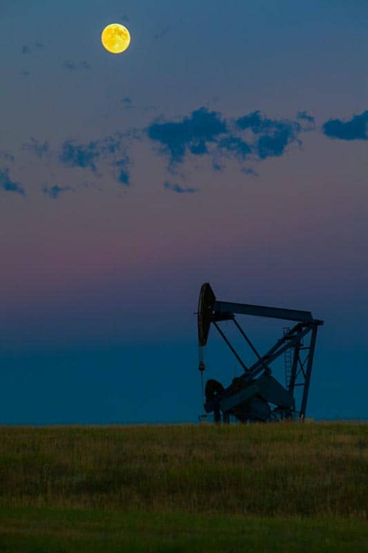 oil rig alberta | full moon silhouette | Alberta Cowboy Trail