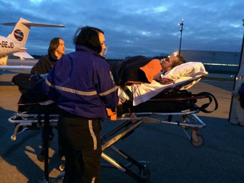 dave on stretcher
