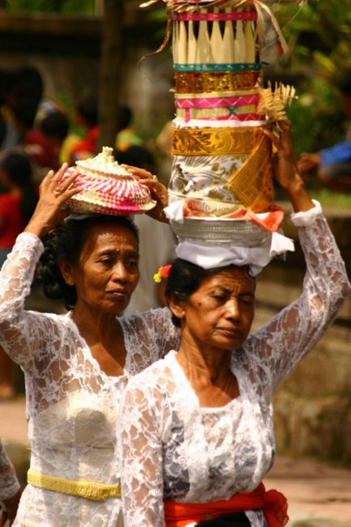 women at bali ceremony cremation