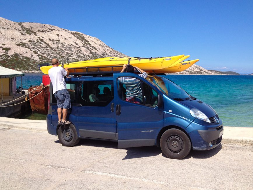 kayaks on top of van in Croatia