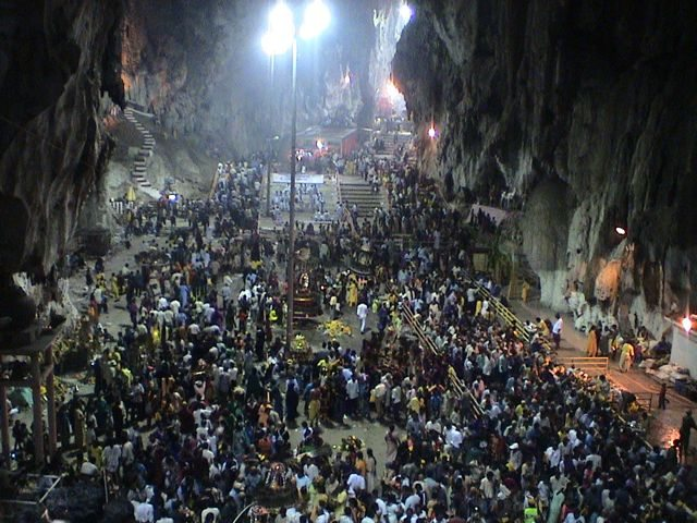 Crowd inside batu caves at Thaipusam kuala lumpur