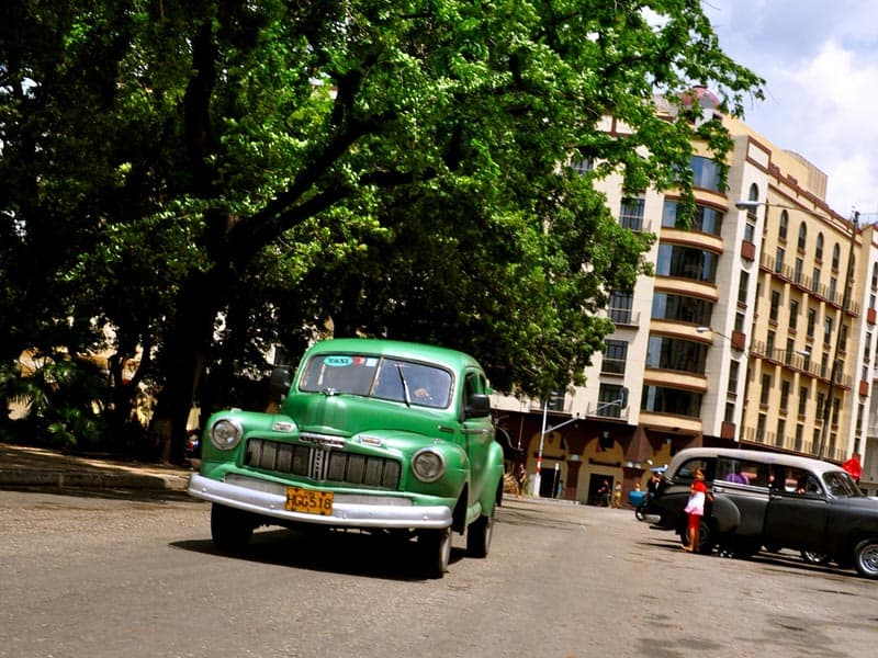 photography of cuba old car downtown