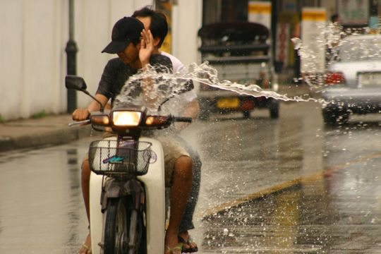 Songkran can be dangerous on motor vehicles