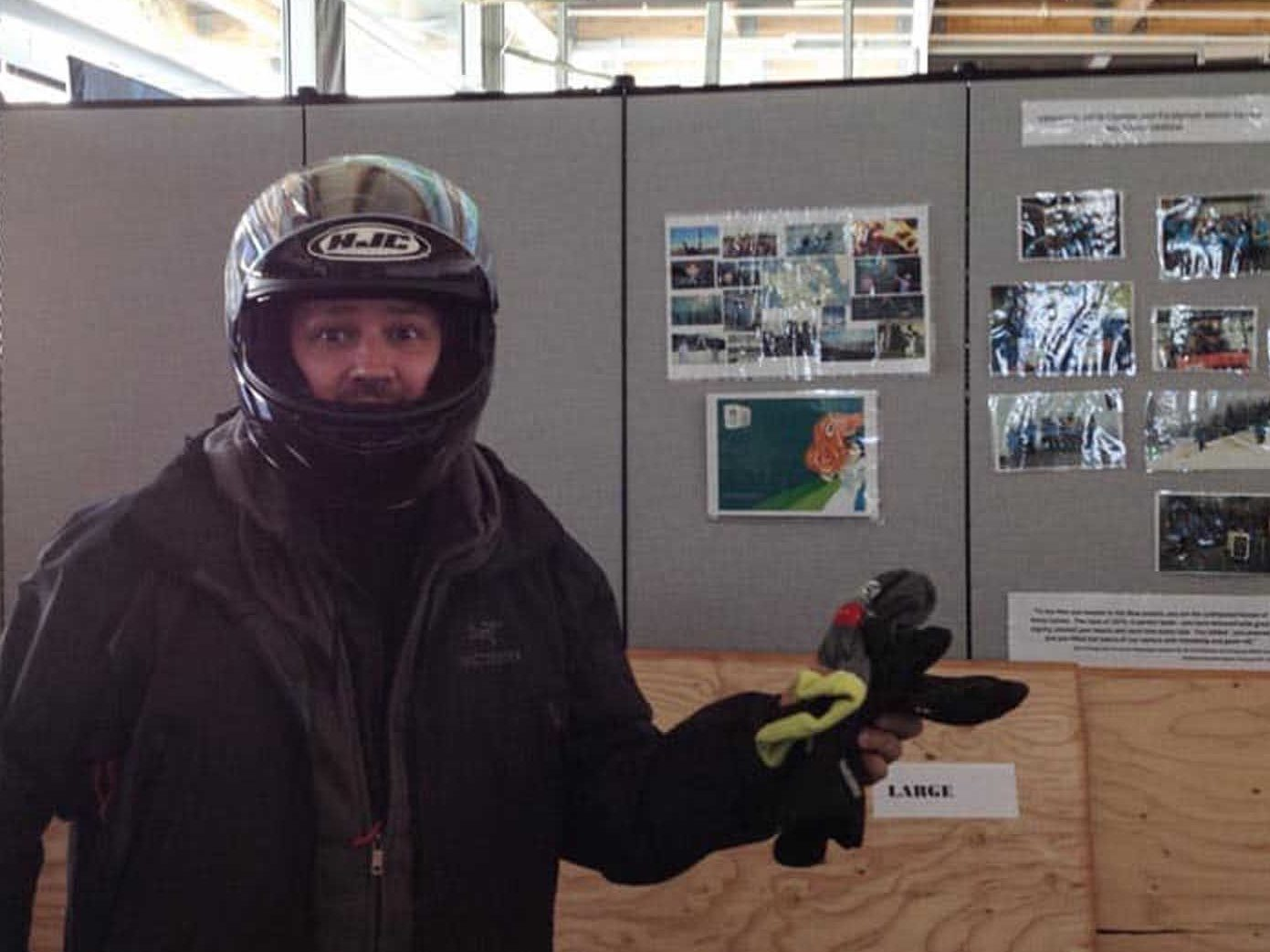 dave getting ready to bobsleigh