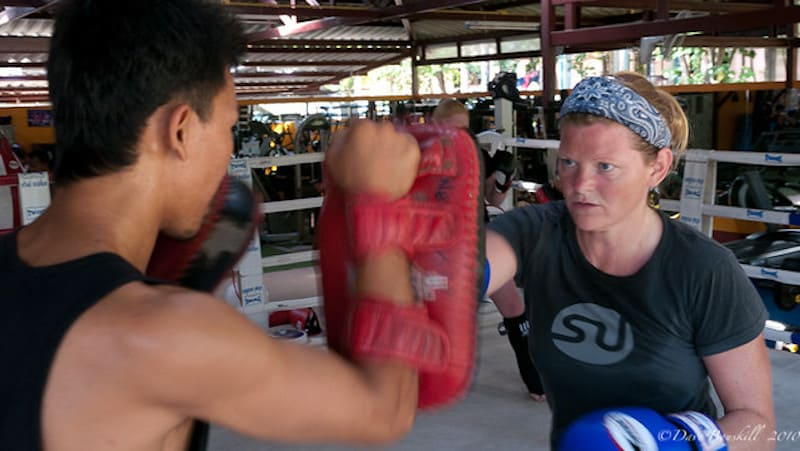 Drills of punches during muay thai training