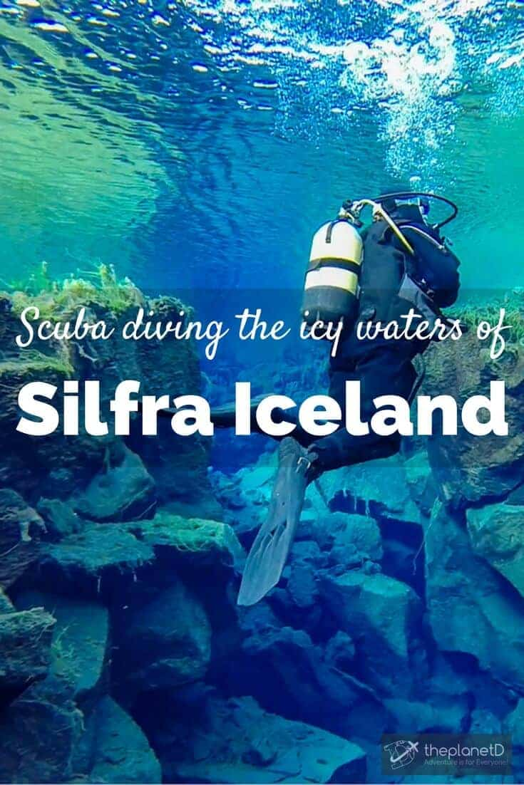 Scuba diving into the Silfra in Iceland is an extreme adventure due to the cold temperatures, but it's worth the experience for those brave enough to do it.