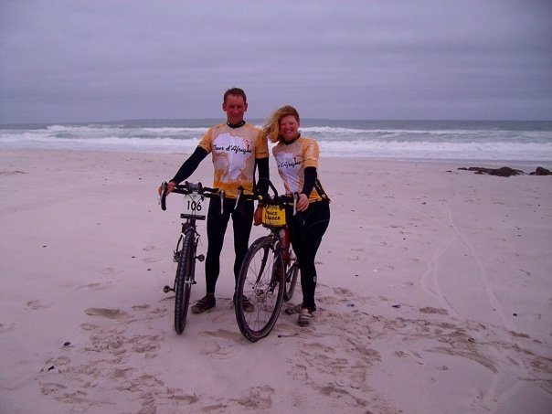 In South Africa, near the finish of our cycling race down the continent