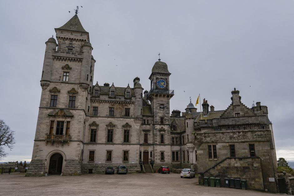 Outside Dunrobin Castle in Scotland