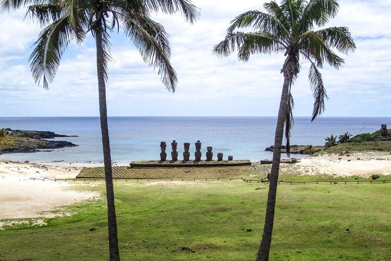 easter island statues beach