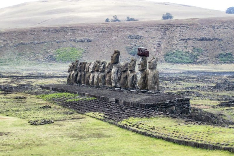 easter island statues field