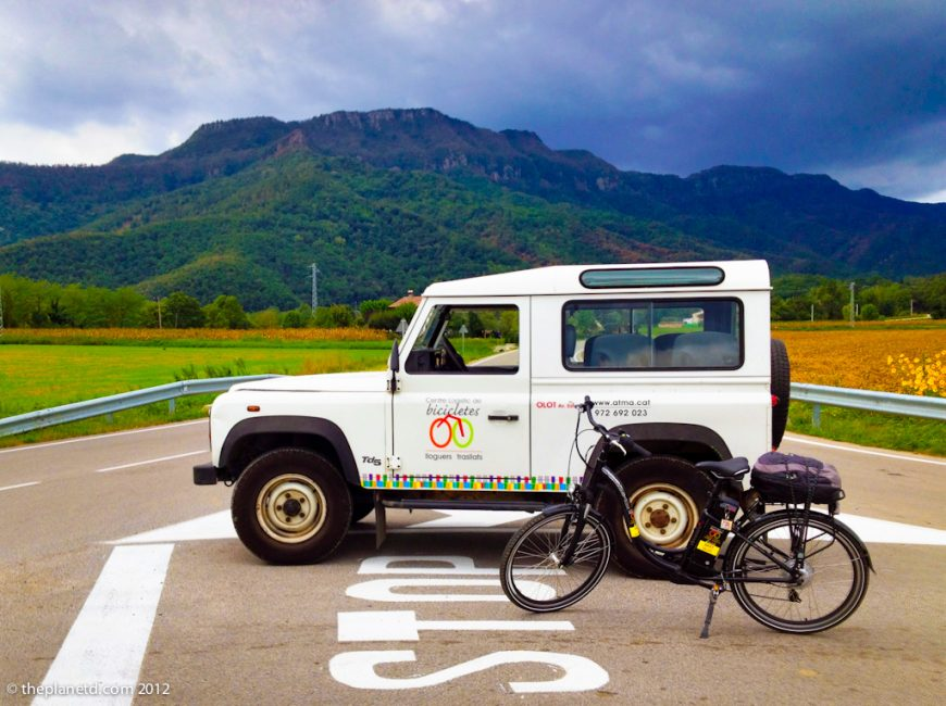 ebike and truck in pyrenees
