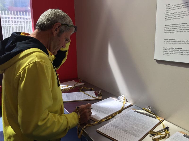 edgewalk cn tower paperwork