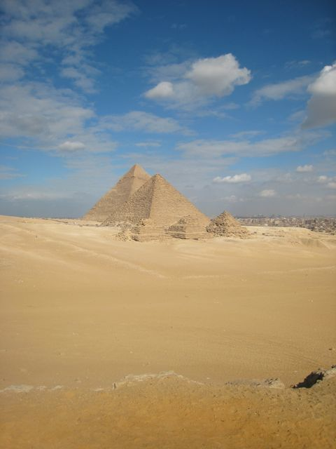 Pyramids of Giza desert view