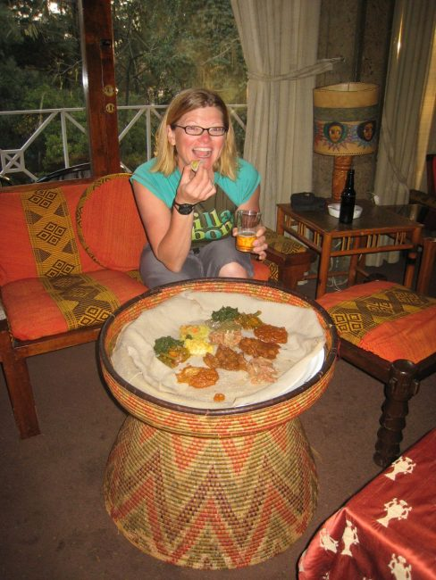 Injera meal in Ethiopia