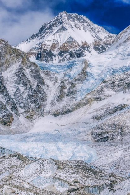 base camp mount everest view of ice fall