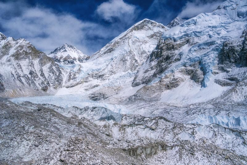 everest base camps view Khumbu Icefall