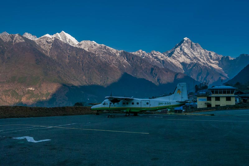EBC Trek airplane Lukla