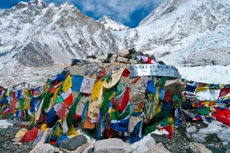 ebc trek prayer flags at everest base camp
