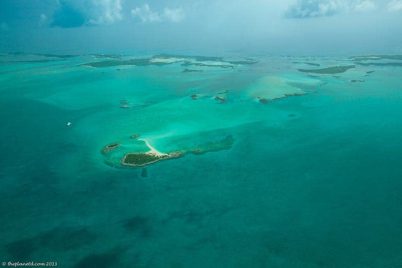 view of exuma cays from plane