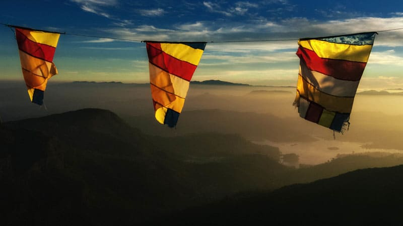 prayer flags mountains of sri lanka
