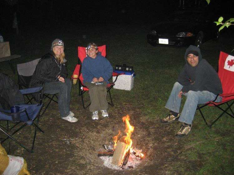 around the campfire at night in ontario