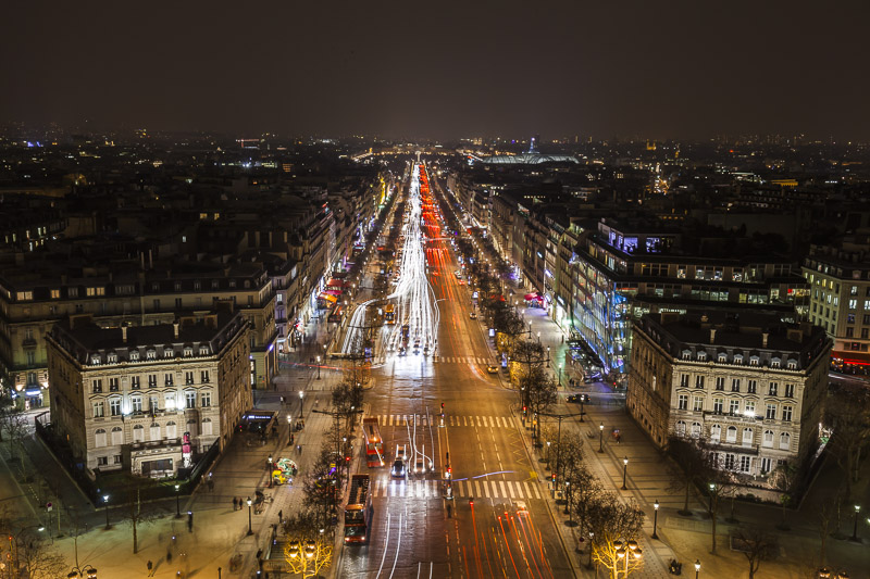 The view from Arc de Triomphe at night