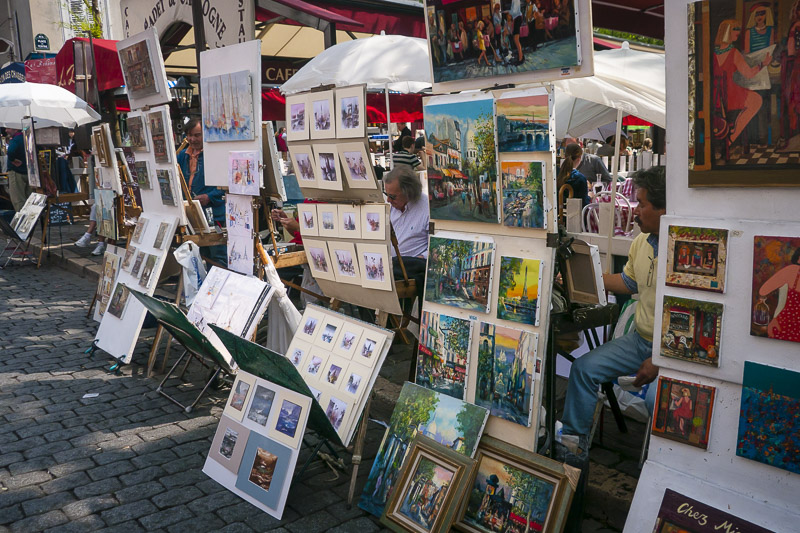 Free Art Market in Montmartre Paris