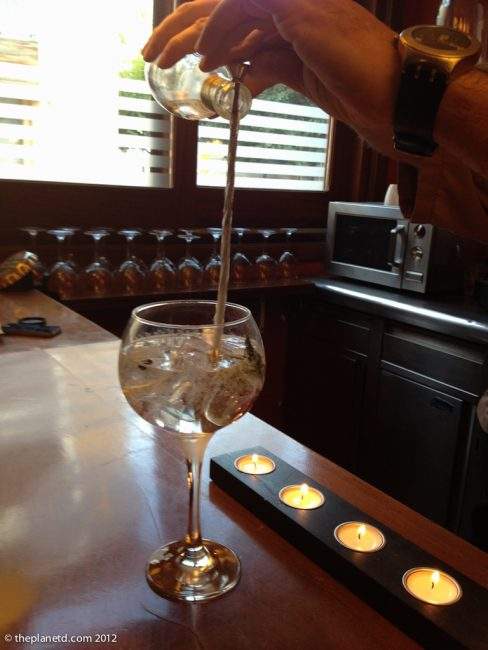 gin and tonic in balloon glass