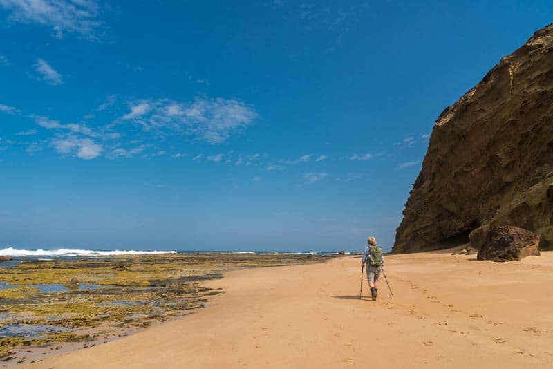 walking along the beach of twelve apostles hike