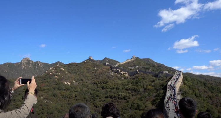 tourists at the great wall of china
