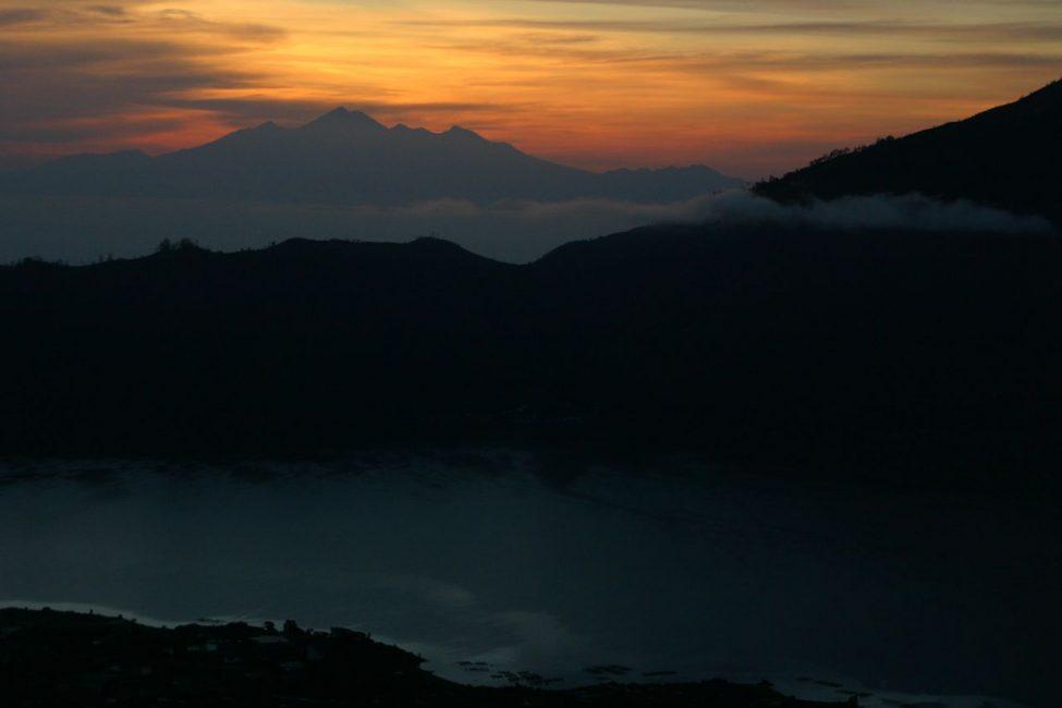 Sunrise horizontal of Mount Rinjani in Lombok