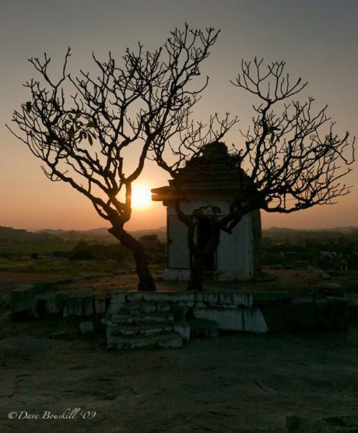 sunset over hampi temple