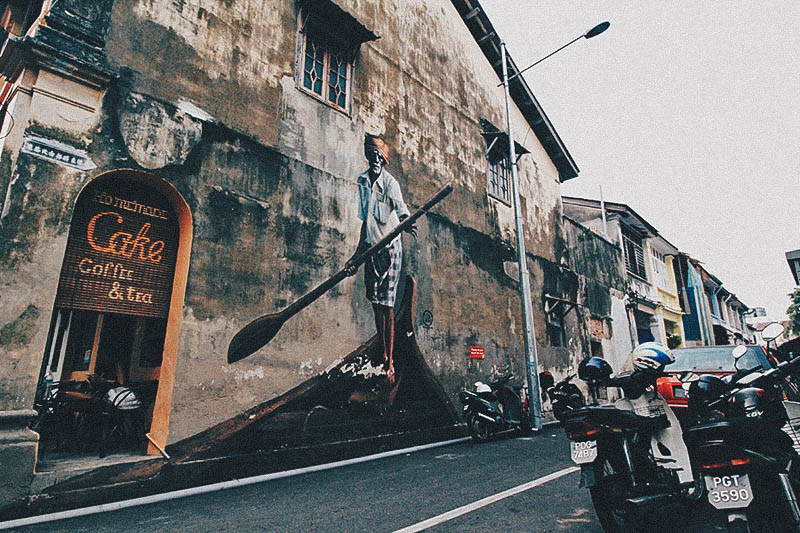 hawker stalls Penang street art