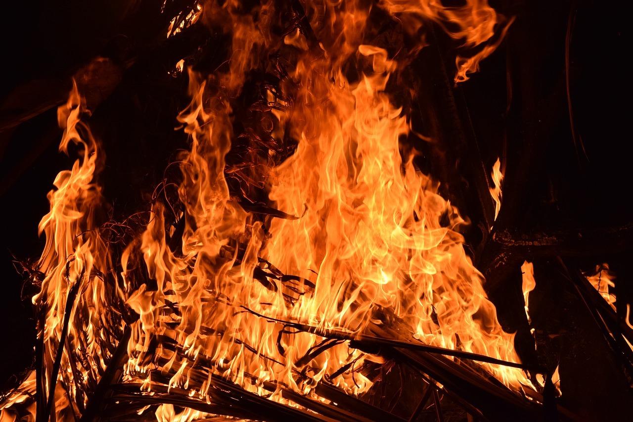 bon fires burn at holika dahan
