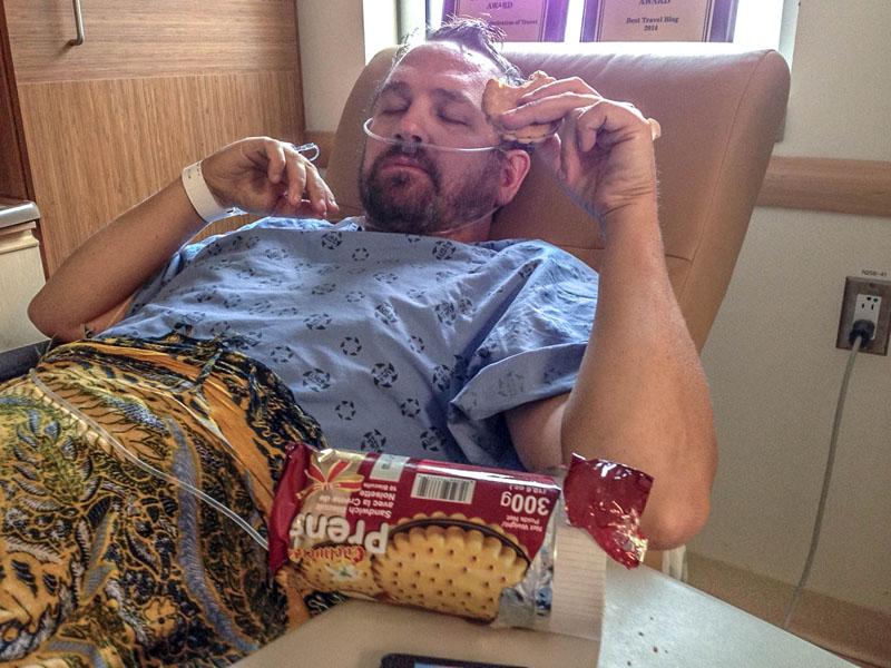 dave eating at hospital