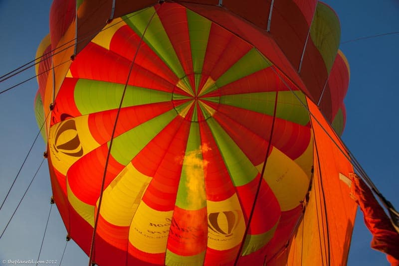 hot air inside the balloon