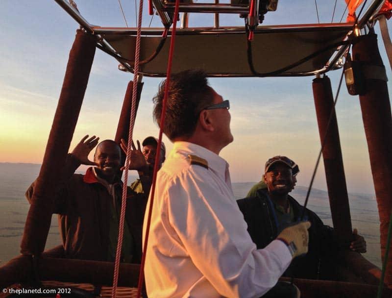 captain kim flies our hot air balloon over the masai mara