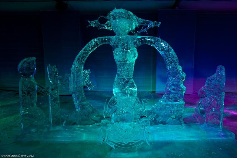 Ice Sculptures at Night at Winterlude Ottawa